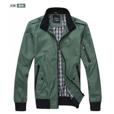Men Slim Stand Collar Long Sleeve Dark Green Polyester Jacket... ($37) via Polyvore