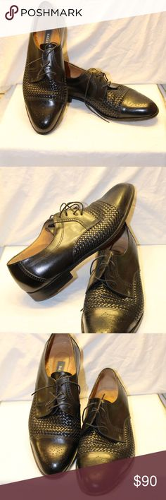 Bally Mens Woven Black Leather Shoe Bally Black Woven Leather Mens Size 13 D.  Very good, gently pre-owned condition,  some light wear to the bottoms. Bally Shoes