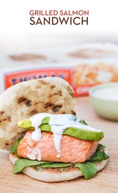 Grilled Salmon Sandwich: Grilling season is more than burgers and hot dogs. Elevate your BBQ with a Salmon Burger on a Thomas' Original English Muffin, complete with sliced avocado, spinach and a delicious dill sauce! Salmon Sandwich, Salmon Burgers, Grilled Salmon, Grilled Meat, Thomas English Muffins, Clean Eating Recipes, Healthy Eating, Bagel Toppings, Seafood Recipes