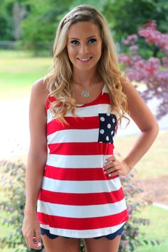 {preorder} Red, White & Bow Tank: Red/navy