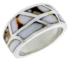 """Sterling Silver Freeform Dome Shell Ring, w/Black & White Mother of Pearl Inlay, 1/2"""" (13mm) wide, size 6 Sabrina Silver. $35.94"""
