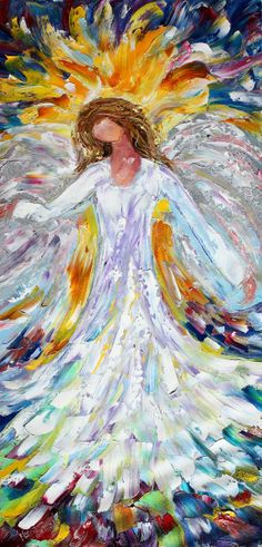 impressionist angel paintings | Items similar to Original oil painting Holiday Angel Abstract ...