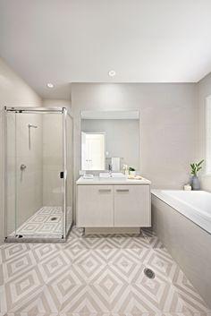 Clarendon Homes.  Capri 24.  Main bathroom with feature floor tiles.