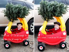This would be an adorable idea for Christmas cards. My dogs would be in the car though, not a kid.