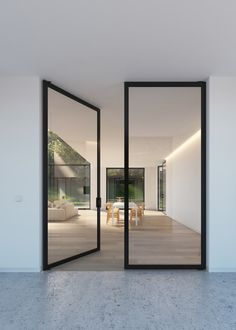 "Double glass door with ""steel look"" frames - Portapivot"