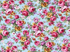 Baumwoll-Popeline Rosen, türkis, CP0128-04,  bei stoffe-hemmers.de, Schöner Baumwollstoff mit kleinen Rosen für tolle Deko-