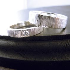 "Wedding Rings - Wood Grain ""Jack and Jane"", Sterling Silver Tree Bark - $330 on Etsy"