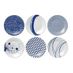 The coast gives way to a multitude of inspiration; shells, sea urchin textures, nets and rock formations sit with water-colored brush-strokes, splatters and stylized waves.  - http://kitchen-dining.bestselleroutlet.net/product-review-for-royal-doulton-pacific-tapas-plates-6-3-inch-blue-set-of-6/