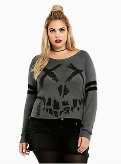 <p>The Suicide Squad is the only squad we want to be in! And this sweater is our ticket in. The grey knit is a cozy alternative to Harley's booty…