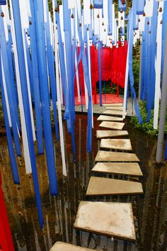 Contemporary Garden with blue fabric strips and bells (3) | Flickr - Photo Sharing!