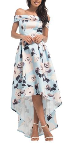 FLORAL PRINT BARDOT DIP HEM MAXI DRESS  Floral Print Dip Hem, Evening, Cocktail And Party Dress Multi-Colour Digital Floral Print Design Fitted Bodice with Bardot Neckline Pleat Skirt Padded Bust