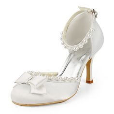 Satin Stiletto Heel Closed Toe / Pumps With Bow Wedding Shoes (More Colors Available) – USD $ 69.99