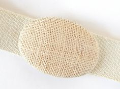 Vintage 1980's Beige Wide Stretch Elastic Belt with Burlap Oval Buckle,Modern Size 10 to 14, Medium to Large