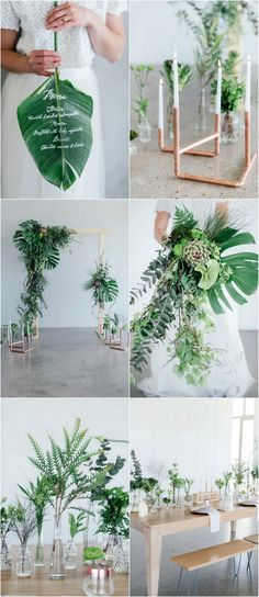Click for all of these greenery and copper wedding ideas, with tips and advice from the decor stylists! We love the minimalist botanical look! http://www.confettidaydreams.com/greenery-and-copper-wedding-ideas/   Images: Debbie Lourens // Styling Erin HAPPINEST