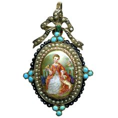 Antique French Enamel Portrait Miniature Mourning Pendant Pearls, Silver and 18k gold setting with Persian turquoise, enamels. c. 1770-1820