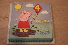 Peppa Pig sheet cake by C. Bird's Coordination & Design, an OKC | Moore home bakery serving the Oklahoma City metro. Email at 2cbird@cox.net