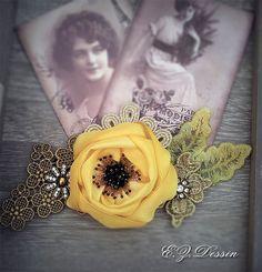 Vintage hair accessories. Decorative Applique .Yellow flowers.