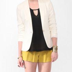Ivory ponte knit blazer