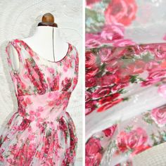 Rose-print chiffon vintage dress, similar design to Collette Patterns Chantilly dress.