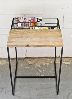 Zine Table - Salvaged Maple & Steel
