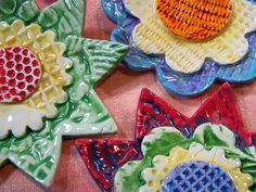 Texture clay flowers