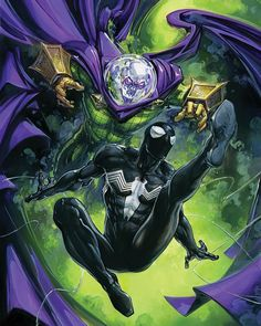 Spider-Man Vs Mysterio by Clayton Crain - Marvel Comics. Amazing Spiderman, Black Spiderman, Spiderman Art, Spiderman Symbiote, Marvel Villains, Marvel Heroes, Marvel Characters, Nightwing, Batwoman