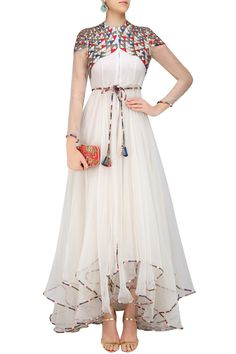 White Geometric Pattern Embroidered High Low Trail Cut Dress