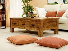 Rustikální konferenční stolek 135x80 3 se 6 zásuvkami z růžového dřeva