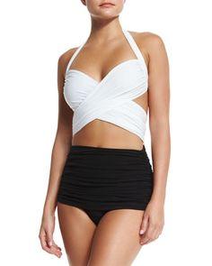 XO Bill Mio Combo One-Piece Swimsuit, White/Black by Norma Kamali at Bergdorf Goodman.