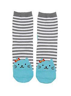 <p>Knit ankle socks with grey & white stripes and turquoise cat designs.</p>  <ul> <li>75% acrylic; 2% spandex</li> <li>Wash cold; dry low</li> <li>Imported</li> </ul>