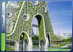 The skins of the honeycomb-like towers also serve as solar energy generators that harvest sunlight and produce biofuel.