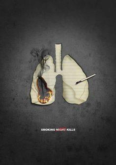 """""""Fumar puede matar"""" (Smoking might kills) en el que la palabra """"puede"""" (might) está tachada"""