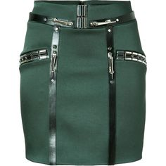 ANTHONY VACCARELLO Embellished Mini-Skirt with Leather Trim in Green ($765) found on Polyvore featuring women's fashion, skirts, mini skirts, bottoms, saias, faldas, short green skirt, fitted skirts, embellished skirts and fitted mini skirt