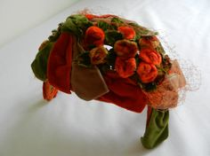 Vintage Hat of Green Tan and Rust Velvet and Flowers 1950s from Sytle Hat Shoppe Chicago