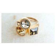 Combinações infalíveis: Dourado Marrom  e Transparente. [Compras via direct] #copella #anel #swarovski #dourado #prata925