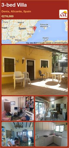 Villa for Sale in Denia, Spain with 3 bedrooms - A Spanish Life Alicante Spain, Murcia, Seville, Malaga, Terrace, Madrid, Bbq, Construction, Bedroom