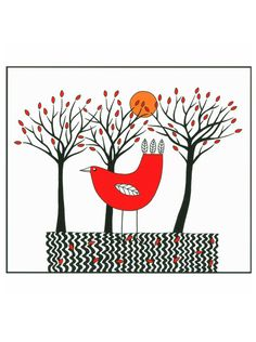 """10"""" x 8"""" Art Illustration Print Drawing Bird Graphic Black Red Drawing Trees And Red Bird Stylised Folk Art"""