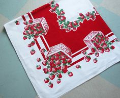 Vintage Tablecloth with Bright Red Strawberries