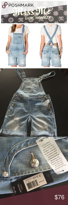 """Miss Me short overalls Miss Me overall mid-short light blue, size medium.  Destructed look with holes and frays.   6 1/2"""" inseam with a 1 1/2"""" cuff rolled twice.  So cute!   NWT Miss Me Shorts Jean Shorts"""