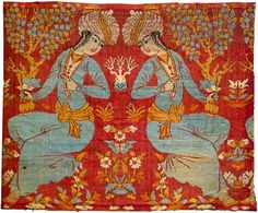 Silk, lampas weave c. 1600 Possibly from the city of Kashan, one of the best-known textile production centers Related to the style of Riza-i Abbasi, court painter to Shah Abbas (1587-1628).
