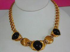 Vintage Signed TRIFARI Gold Tone Link Style Necklace w/ Black Plastic Cabochons