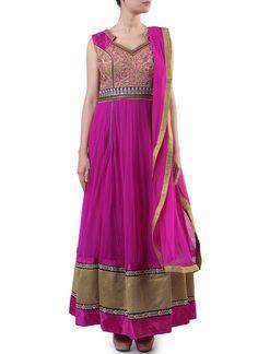Purplish Pink Net Anarkali Suit