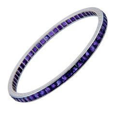 ca. 1930 BLACK STARR & FROST  Amethyst Platinum Bangle