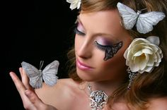 Love of butterfly - butterflies, eye makeup, rose, woman