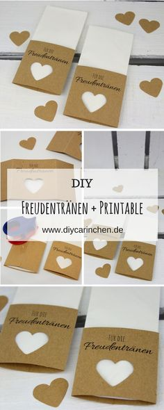 Instructions: Handkerchiefs for the happy tears to make the wedding very easy + free Printable - Personello - DIY ideas: Gifts, decoration, crafts & Do It yourself - Gastgeschenke Hochzeit - Diy Wedding Shoes, Diy Wedding Bouquet, Wedding Gifts, Guest Present Wedding, Bridal Gifts, Happy Tears, Tears Of Joy, Bridal Shower Decorations, Wedding Decorations