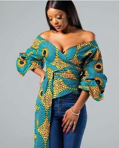 African Print Ruffle Tiered Sleeve Wrap Top - Daniella - Daniella African Print Ruffle Tiered Sleeve Wrap Top – L'AVIYE African Fashion Ankara, Ghanaian Fashion, African Inspired Fashion, African Print Fashion, Africa Fashion, Fashion Prints, African Print Top, African Prints, African Attire