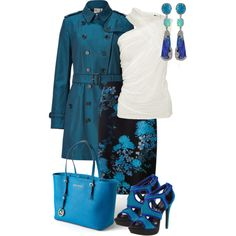 blue trench by sagramora on Polyvore featuring Rick Owens, Burberry, Monsoon, Jessica Simpson and MICHAEL Michael Kors