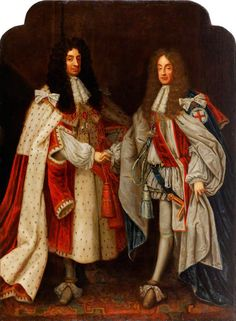 H.M. King Charles II and H.R.H. Prince James, Duke of York. (Later H.M. King James II) in a portrait by an unknown artist, c. 1660-1685.