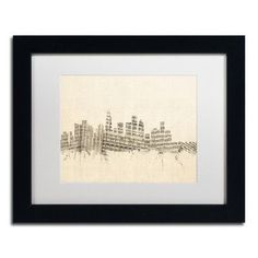"Trademark Art ""Los Angeles Sheet Music II"" by Michael Tompsett Framed Graphic Art Size: 11"" H x 14"" W x 0.5"" D"