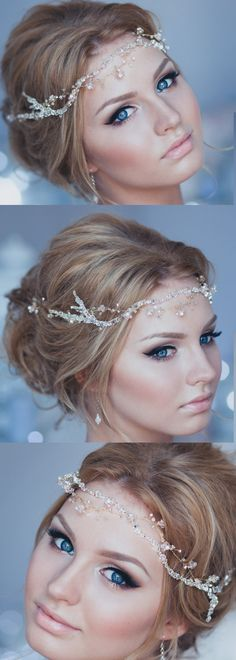 Crystal Decorated Wedding Bridal Hair Vine Bridal Halo Bridal Headband Wedding Tiara Bridal Diadem Bridal Wreath Baby Glass Halo. The wire can be silver, yellow gold or rose gold. The crystals and glass elements are clear - can be customized with various bead colors to match your gown. #handmade #shopsmall #wedding #weddings #bridal #bridalwear #hairvine #bridalhair #winterwedding #weddingideas #affiliatelink #weddinghair